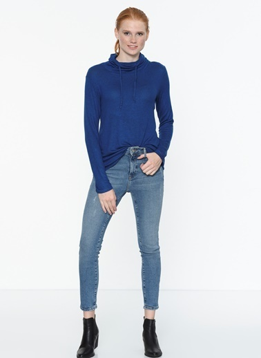 Mavi Balıkçı Yaka Sweatshirt Mavi